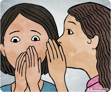 Illustration of a girl whispering to another girl presumably a menstrual myth - Menstrupedia