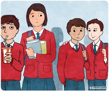 Illustration of a tall school girl feeling conscious around shorter school boys - Menstrupedia