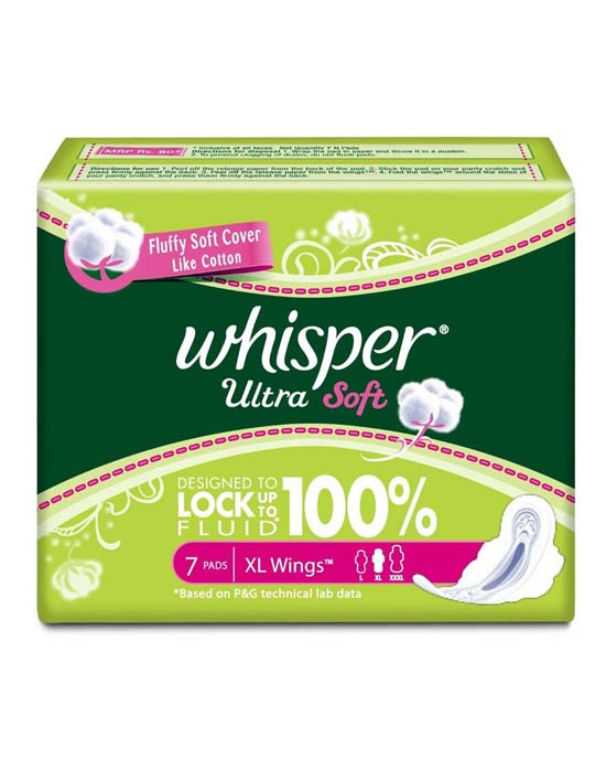 Whisper Ultra Soft - XL Wings (7 Pads) at Menstrupedia Store